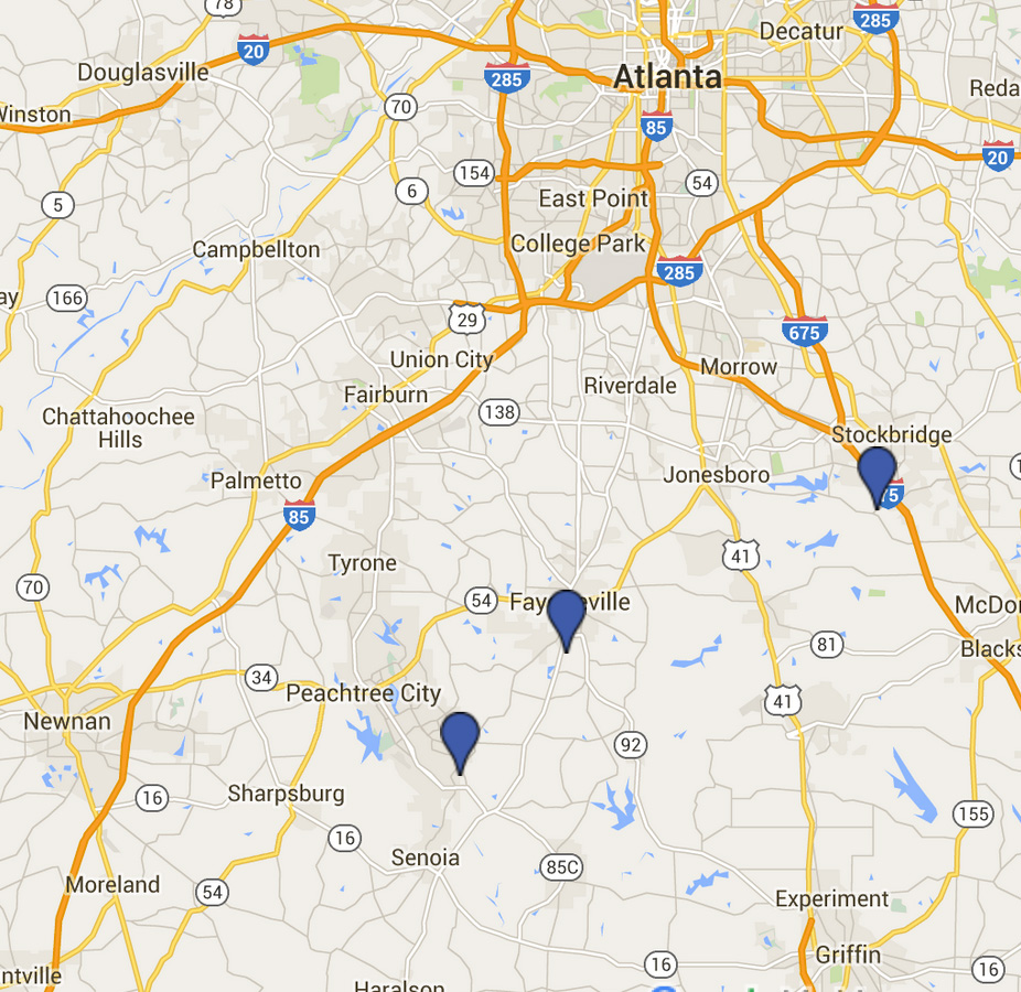 Map of Master Shim's Tae Kwon Do martial arts schools located near Atlanta, GA